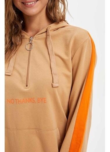 DeFacto Kolları Renk Bloklu Kapüşonlu Tunik Oranj